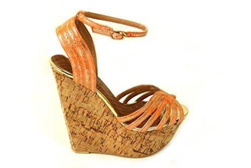 Mesdames pour femme Soutien-gorge Effet Boucle Haute Wedge Talon Plateforme en liège Peep Toe chaussures sandale différents Designs Taille 345678 Orange