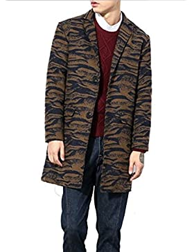 YiJee Abrigo Moda Abrigo de Invierno Classic Soltero de Pecho Hombres Cebra Estampada