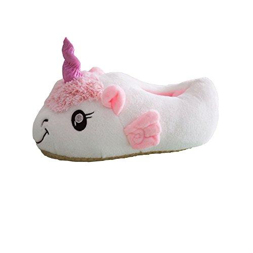 Jysport pantofole unicorno con animali cosplay ciabatte peluch caldo pantofole indoor inverno slipper per le taglie europee per adulti 39-42 (white)