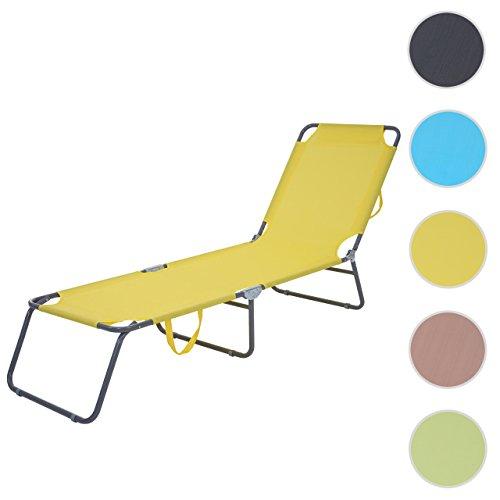 Mendler Sonnenliege HWC-B11, Relaxliege Gartenliege, Textil klappbar ~ gelb