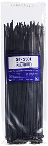 Preisvergleich Produktbild GW Kabelbinder-Technik, Kabelbinder 251 x 3,6 mm, schwarz, 1000 Stück, GT-250IB