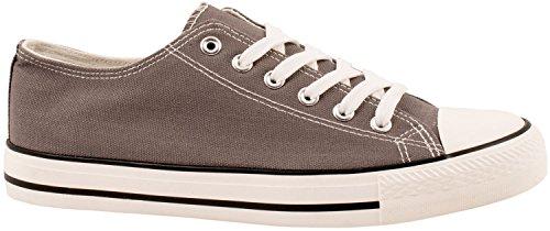 Elara Unisex Sneaker | Bequeme Sportschuhe für Damen und Herren | Low Top Turnschuh Textil Schuhe Dk Grey