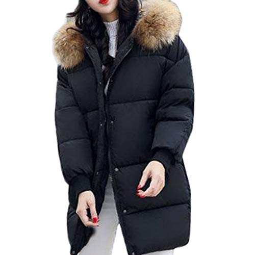 668384dfb78 FNKDOR Womens Warm Winter Quilted Padded Puffer Bubble Fur Collar Parka  Slim Hooded Jacket Coat Overcoat