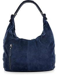 04b298b1ecc8fb CNTMP Damen Schultertasche Leder, Hobo-Bag, Leder Handtasche Damen,  Beuteltasche Wildleder, Leder-Tasche DIN-A4, 44x36x4cm…