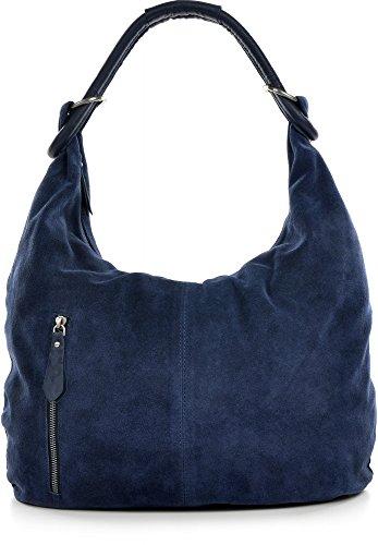 CNTMP Damen Schultertasche Leder, Hobo-Bag, Leder Handtasche Damen, Beuteltasche Wildleder, Leder-Tasche DIN-A4, 44x36x4cm (B x H x T), Farbe:Dunkelblau