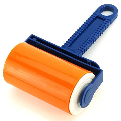 YuamMei 1 Tragbar Wiederverwendbar Pet Haarentferner Fusselroller von Kleidung, Tierhaaren, Autositze (Orange)