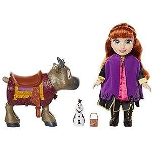 Frozen 2- Disney Muñeca Princesa Anna con Figuras de Olaf y el Reno Sven de Frozen II Set, Color replicas de la película, Talla Única (Glop Games 207164)