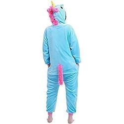 YIZYIF Pijama Unicornio Unisex Niños Mona Pijama invierno Cosplay disfraz de Animal Una pieza de Ropa para dormir Azul 10-12 años