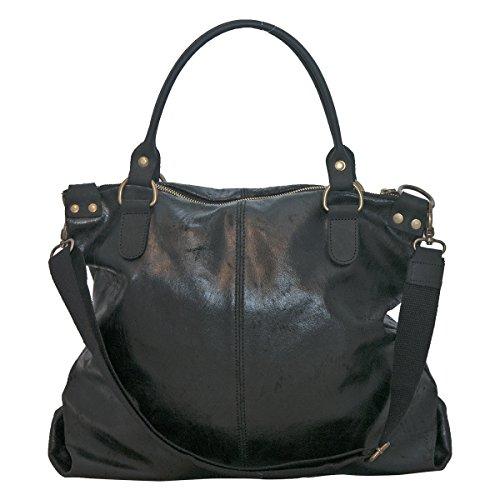 BORDERLINE - 100% Made in Italy - Damen Leder Tasche - Vintage Style - LISA - Schwarz