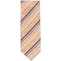 Silk Ties classico cravatta seta arancione grigio floreale strisce 8