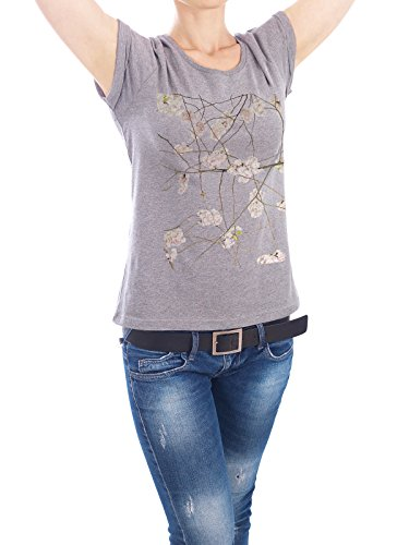 "Design T-Shirt Frauen Earth Positive ""Japan Kirsch"" - stylisches Shirt Floral von Tan Kadam Grau"
