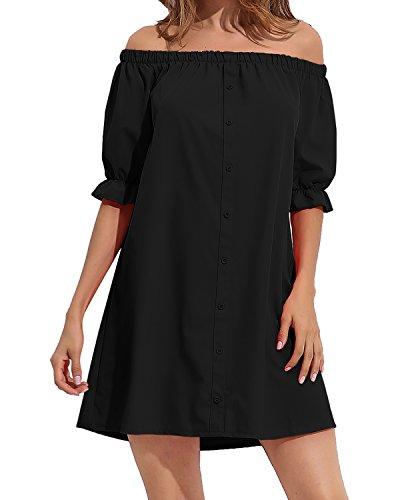 StyleDome Femme Robe Courte Chemise Bustier Col Bateau Manches Demi Epaule Nue Casual sexy Haut Tops Blouse Chemise Longue Noir EU 44
