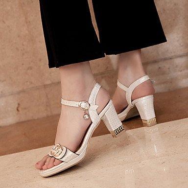 LvYuan Damen-Sandalen-Kleid-Kunstleder-Blockabsatz-Andere-Schwarz Rosa Weiß White