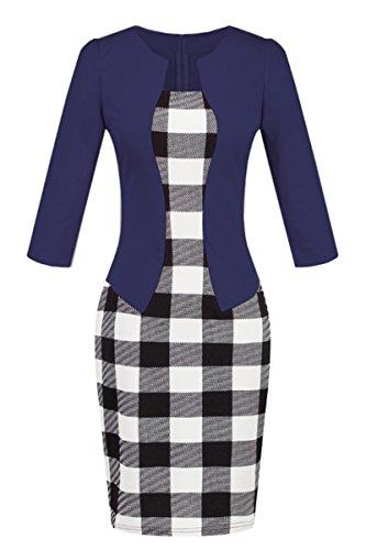 YMING Frauen Weinlese Bodycon einteiliges Kleid 3/4 Hülsen Geschäfts Partei Kleid XS XXL Blau