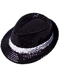 Gorra de Disfracez Sombrero de Jazz Lentejuelas Sombrero de Fiesta Baile Rendimiento Otoño Verano