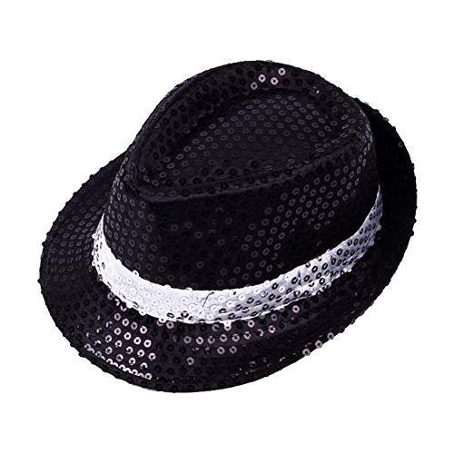 Cosanter Glitzernder Pailletten Hüte für Tanzparty Bühnenperformance Mützen & Caps 58 cm, Schwarzer Hintergrund mit weißen Streifen