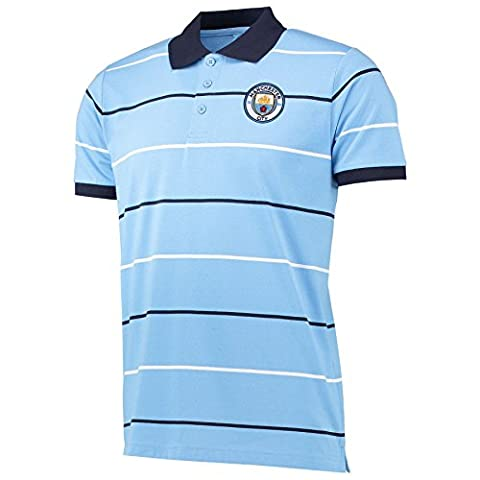 Manchester City Mens Gents Football Classic Stripe Polo Shirt Top