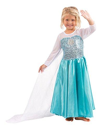 Katara E1 blau/türkises Disney Eiskönigin Elsa inspiriertes Prinzessinen-Frozen-Kleid für Mädchen als Kinder-Kostüm für Karneval, Fasching, Fastnacht, Halloween, Partys (Halloween-kostüm Frozen Elsa)