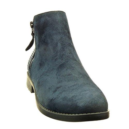 Angkorly - Chaussure Mode Bottine cavalier femme strass diamant fermeture zip Talon bloc 2.5 CM Bleu