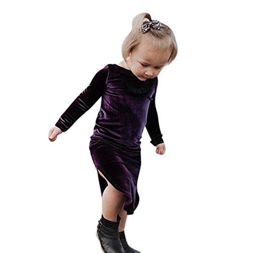 1-5 Jahr Kleinkind Kinder Prinzessin Kleid, DoraMe Baby Mädchen Langärmliges Party Kleid Goldfarbenem Samt Solide O-Ausschnitt Lässig Split Kleid (Violett, 4 Jahr) (Kleid Samt Baby)