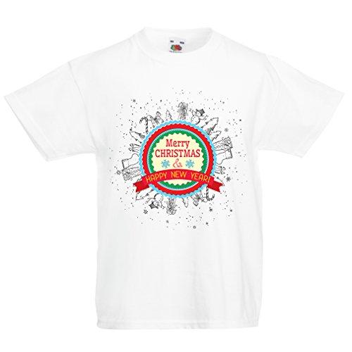 lepni.me Kinder Jungen/Mädchen T-Shirt Frohe Weihnachten und EIN glückliches Jahr - Urlaubsoutfits (1-2 Years Weiß Mehrfarben)