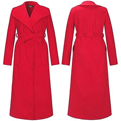 GSKBNT Lo stile lungo di nuovo autunno e inverno donna lana cappotto mezzo dipartimento della cinghia singolo-fila di bottoni tinta unita cappotto giacca a vento , red , m