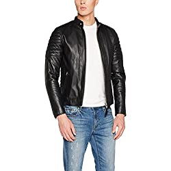Schott NYC LCJOE, Blouson Homme, Noir (Black), Small (Taille Fabricant: S)