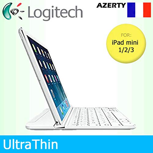 Logitech UltraThin Magnetic Clip-On Bluetooth Cover for Apple iPad Mini 1/2/3 - AZERTY French Keyboard Layout - weiß