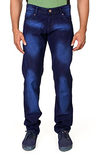 Villain Men's Jeans - Straight Fit Denims For Boys - Lightly Washed Mid Rise Jeans - Blue