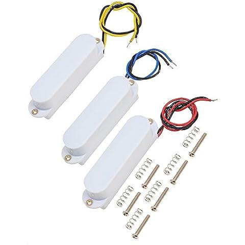 Single Coil Pickups cuello medio puente set para Fender Stratocaster Strat guitarra eléctrica partes de repuesto blanco