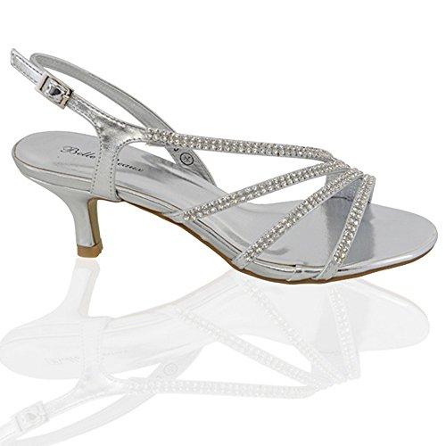 ESSEX GLAM Sandalo Donna Tacco Medio Finto Diamante Matrimonio Festa Argento metallizzato