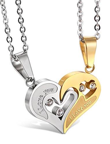 Jstyle Bijoux Acier Inoxydable Collier Femme/Homme pour Les Amoureux Meilleure Amie Collier Cœur Amour Puzzle Pendentif Couple avec Zircon 55 cm