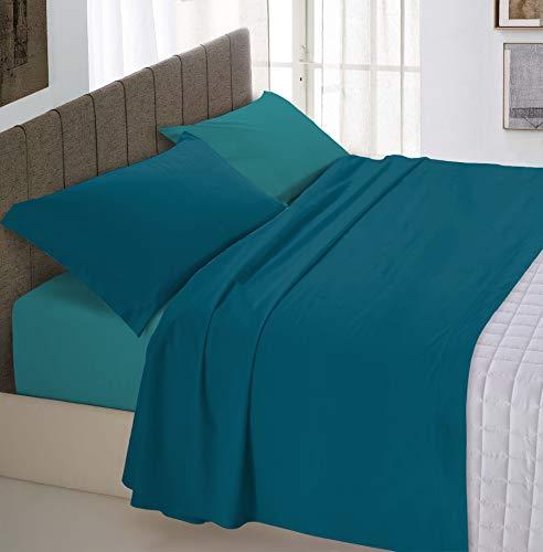 Italian Bed Linen Natural Color Completo Letto Double Face, 100% Cotone, Verde Petrolio/Verde Bottiglia, Matrimoniale
