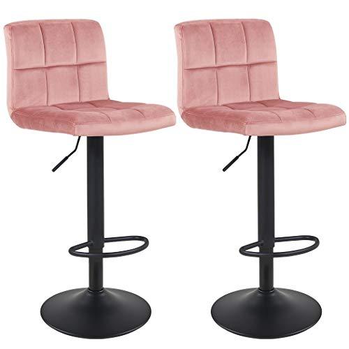 Duhome Barhocker 2X Barstuhl Rosa aus Stoff Samt Drehstuhl Tresenhocker (Typ 9-451Y) Bar Sessel gut gepolstert Bodenschoner, mit verchromten Griff höhenverstellbar gut gepolstert mit Lehne