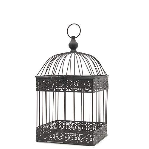 chemin_de_campagne Cage à Oiseaux Carré Marron Décorative Fer 47 cm x 24 cm x 24 cm