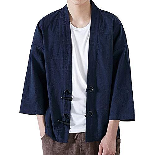 JiaMeng Invierno Moda Yukata Japonesa Escudo Casual Kimono Outwear Algodón Vintage Loose...