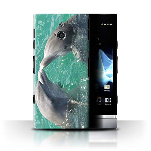 Stuff4® Hülle/Case für Sony Xperia P/LT22i / Schöner Ozean Kuss Muster/Delfine Meereslebens Kollektion