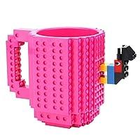 Gowind6 DIY Build-On Brick Mug 350ml Coffee Cup Creative Building Blocks Cup Coffee Mup Tea Cup Beverage Drinking Christmas Birthday Festival Gift Rose Red