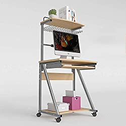 Deawecall Table Wood Computer Desks Trolley With Keyboard Tray And Storage Shelves For Small Spaces Home Office Furniture (Color : B, Size : -)