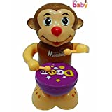 #10: Happy Drummer Monkey With Toy Light, Music and 360 degree Rotation Toys