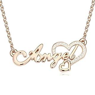 Daesar Schmuck Damenkette Vergoldet Engel Herz Halsketten Zirkonia Anhänger Halskette für Frauen