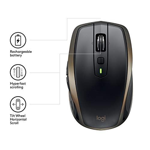 Logitech MX Anywhere 2 AMZ Wireless Bluetooth Mouse for Windows and Mac - Black Img 2 Zoom