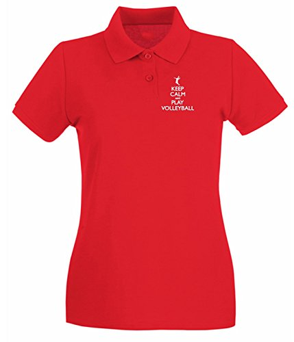 Cotton Island - Polo pour femme SP0099 Keep Calm and Play Volleyball Maglietta Rouge