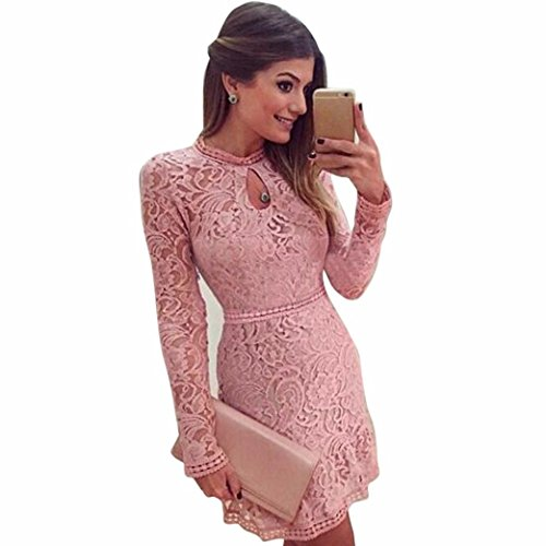 Kavitoz Hot Sale ew Arrival Women Sexy Pink Hollow Lace Long Sleeve Slim Dress Party Evening Dress