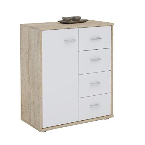 CARO-Möbel Kommode TIRANO Highboard Anrichtel mit 1 Tür und 4 Schubladen in Sonoma Eiche/weiß (Kommode 4 Griffe)