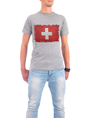 "Design T-Shirt Männer Continental Cotton ""Flag of Switzerland"" - stylisches Shirt Reise Reise / Länder von Bruce Stanfield Grau"