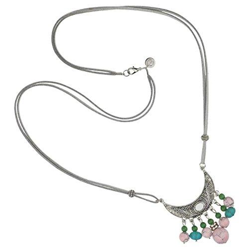 """TheStyleAssistant """"CAMELLIAS"""" Boho Statement-Kette Silberkette Ethno Hippie Style Schmuck Halskette Perlen-Anhänger (Kostüm Schmuck Indien)"""