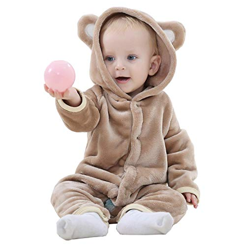 J2L Fasching Karneval Kostüm Klein Kinder Verkleidung Flanell Party Baby Tiere Prinzessin Fotoshooting Babyshooting (Bär, 90 (Alter 13-18 Monate))