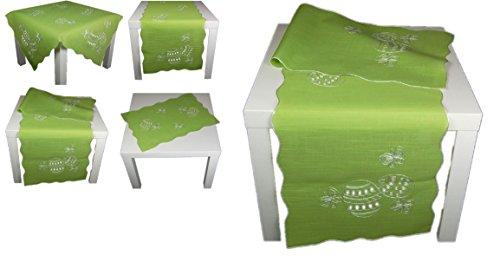 hübsche TISCHDECKE 40x160 cm eckig OSTERN hellgrün Osterei Schmetterling Kurbelstickerei OSTERDECKE Polyester Ostertischdecke (Tischläufer 40x160 cm)