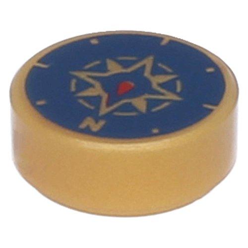 Preisvergleich Produktbild LEGO® Fliese, Rund 1 x 1 mit Kompass, Aufdruck Perlgold